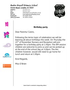 Nursery and Reception birthday party